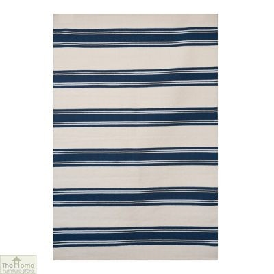 Cotton Patterned Reversible Blue Rug_1