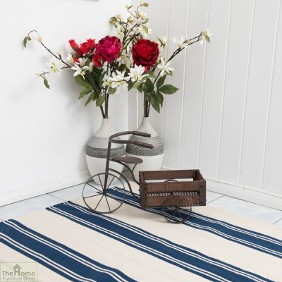 Cotton Patterned Reversible Blue Rug_3
