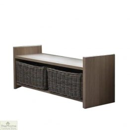 Oak Wicker Drawer Storage Bench