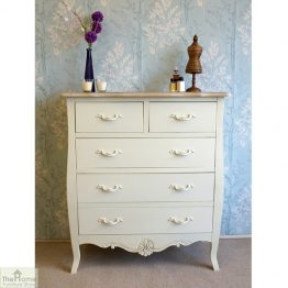 Devon Shabby Chic 5 Drawer Chest Of Drawers_1