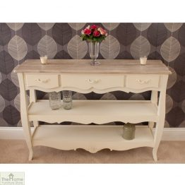 Devon Shabby Chic 3 Drawer 2 Shelf Console Table_1