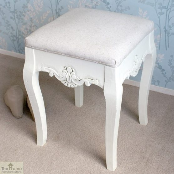 Devon Dressing Table Stool White Finish_2