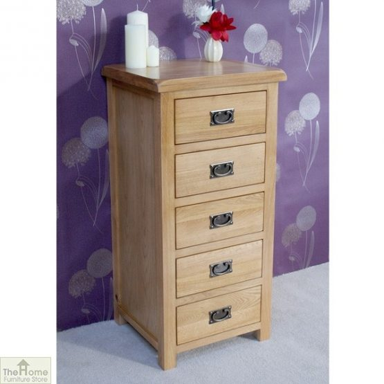 Farmhouse Oak 5 Drawer Tallboy_2