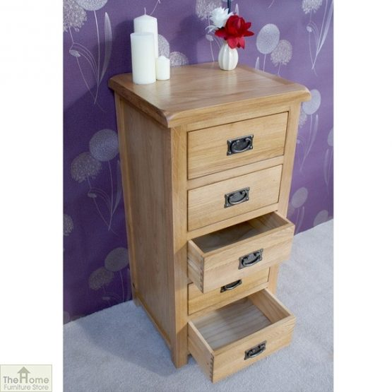 Farmhouse Oak 5 Drawer Tallboy_3