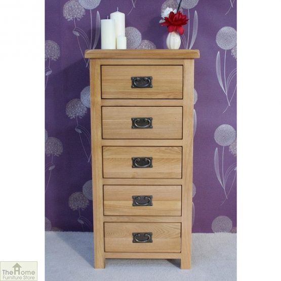 Farmhouse Oak 5 Drawer Tallboy_1