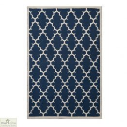 Blue White Reversible Patterned Rug_1