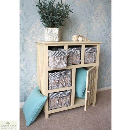 Selsey Wicker 5 Drawer 1 Door Storage Unit_3