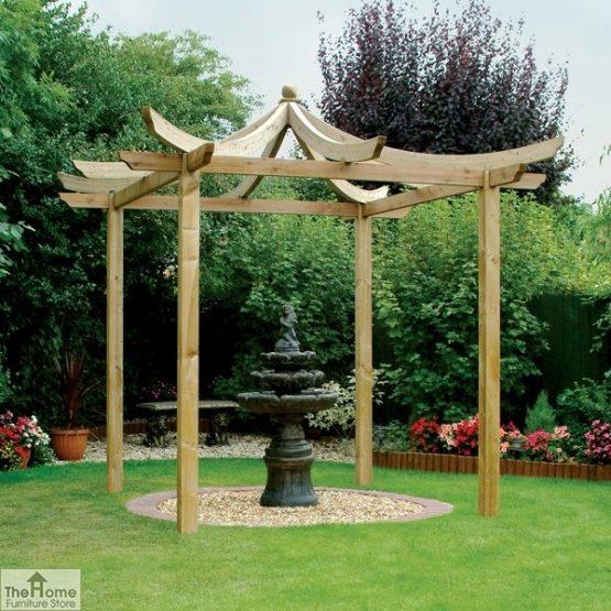 Oriental Wooden Garden Pergola_1