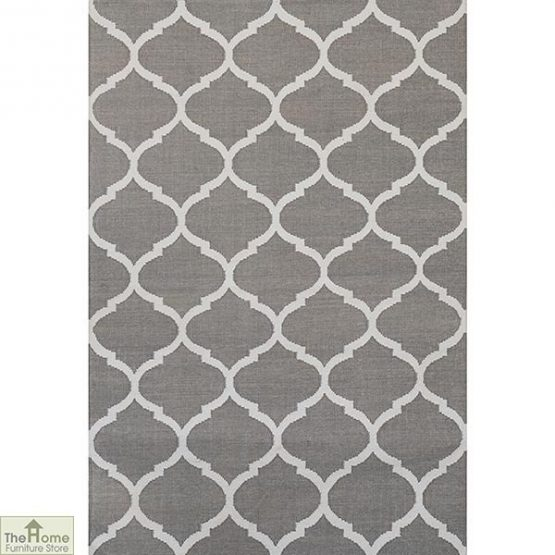 Handwoven Grey Reversible Patterned Rug