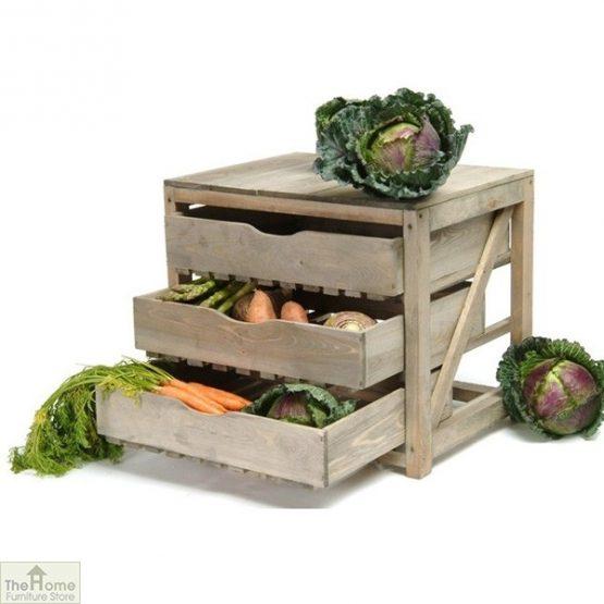 Pine 3 Drawer Vegetable Store