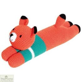 Laying Fox Knitted Toy Blue