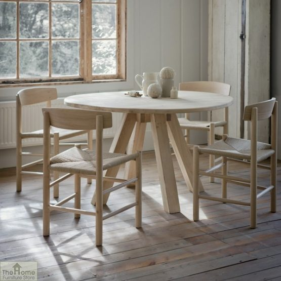 Raw Oak Round Dining Table_1