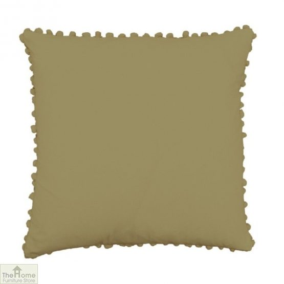Khaki Pom Pom Cotton Cushion