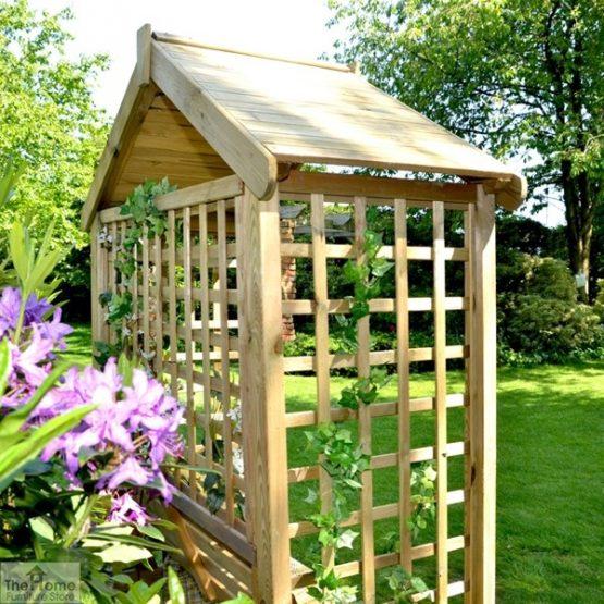 Wooden Trellis Arbour Bench_2