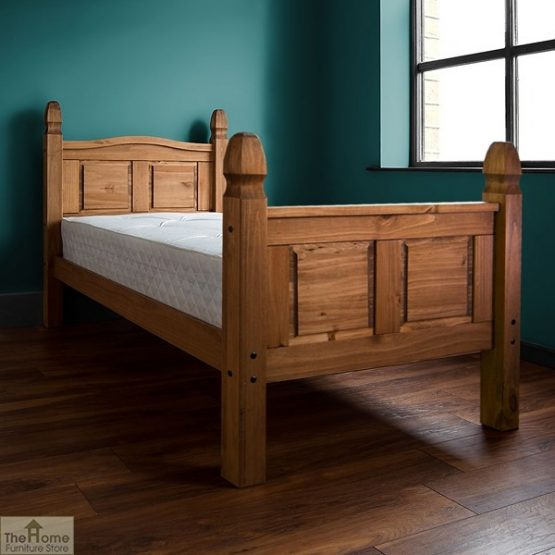 Solid Pine Single Bed High Foot End_2