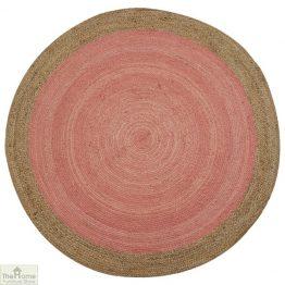 Pink Round Jute Rug