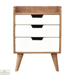 Winchester White 3 Drawer Bedside Table