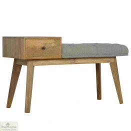 Grey Tweed 1 Drawer Bench_1