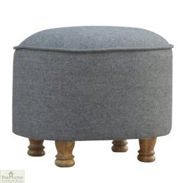 Grey Tweed Oval Footstool_1