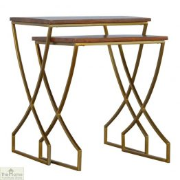 Gold Finish Nest 2 Tables