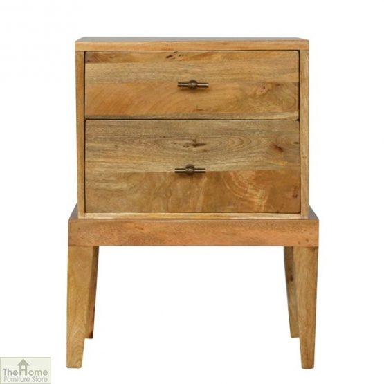 Solid Wood 2 Drawer Bedside Table