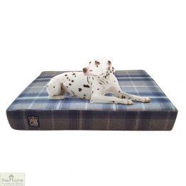 Blue Check Memory Foam Dog Bed_1