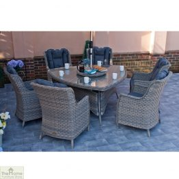 Casamoré Corfu Woodash 6 Seater Triangular Dining Set