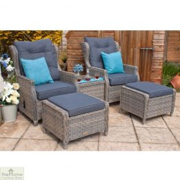 Grey Garden Furniture Reclining Armchair Set