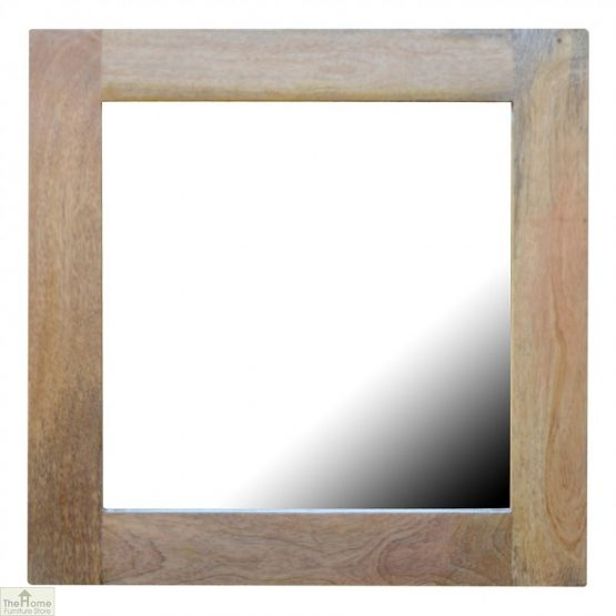 Wall Mounted Wooden Square Mirror