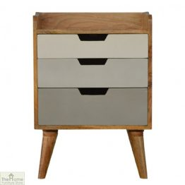 Winchester Grey 3 Drawer Bedside Table