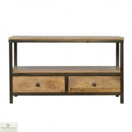 Iron Base 2 Drawer Coffee Table