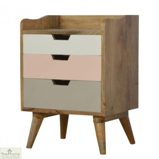 Winchester Pink 3 Drawer Bedside Table_2