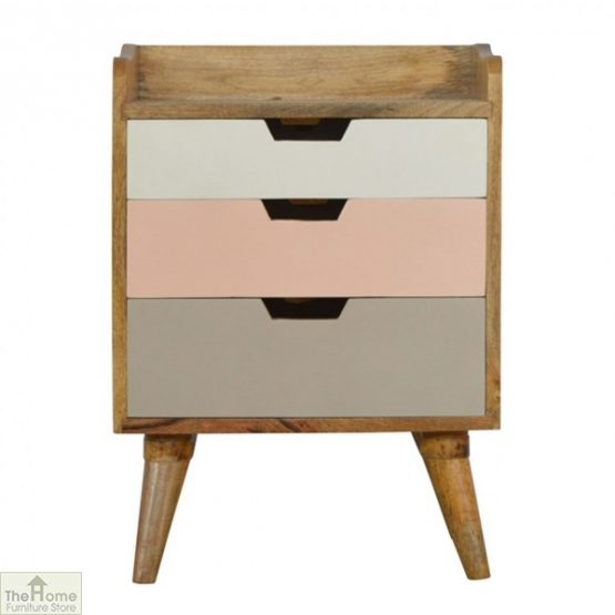 Winchester Pink 3 Drawer Bedside Table