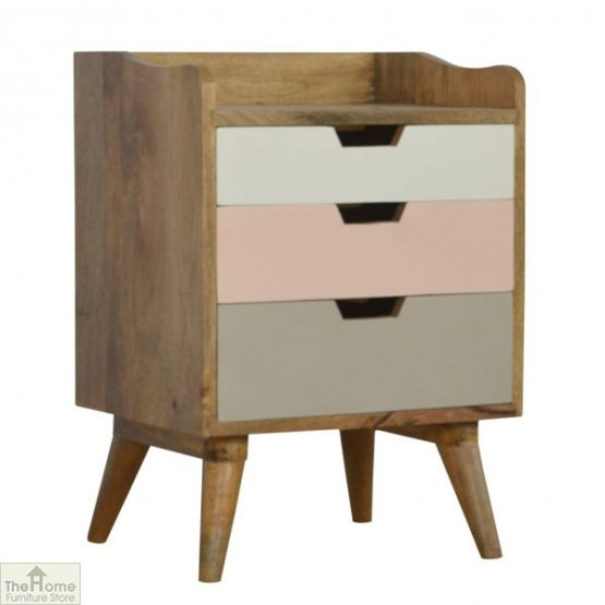 Winchester Pink 3 Drawer Bedside Table_1