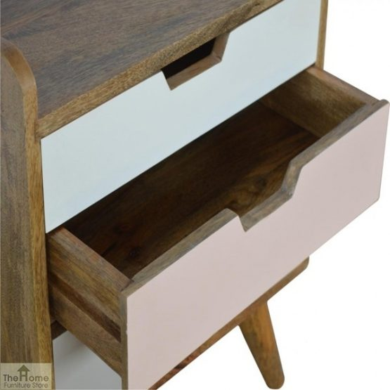Winchester Pink 3 Drawer Bedside Table_7