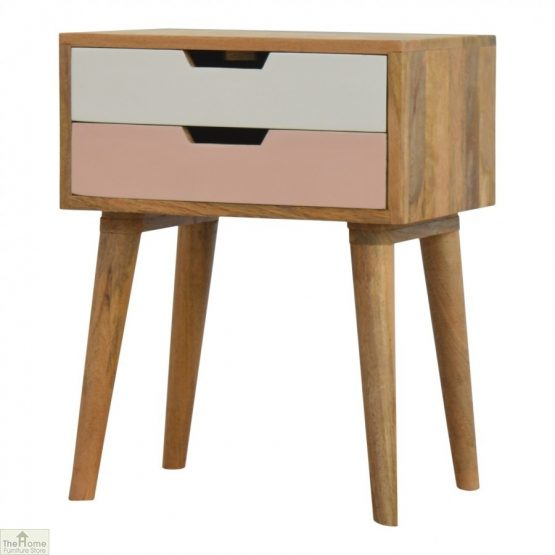 Winchester Pink 2 Drawer Bedside Table_2
