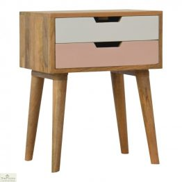 Winchester Pink 2 Drawer Bedside Table_1