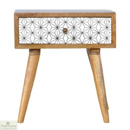 Geometric Print 1 Drawer End Table