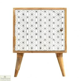 Geometric Print 1 Door Bedside Table