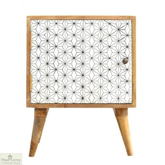 Geometric Print 1 Door Bedside Cabinet