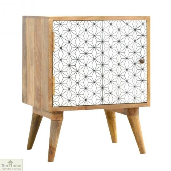 Geometric Print 1 Door Bedside Cabinet_1