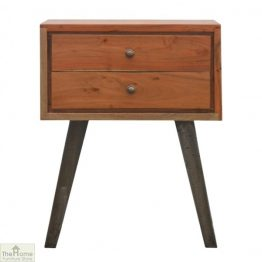 Iron Base 2 Drawer Bedside Table