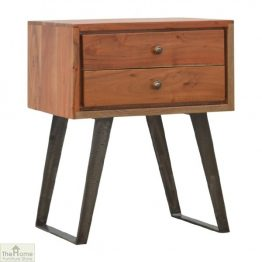 Iron Base 2 Drawer Bedside Table_1