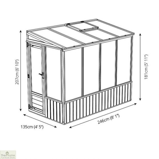 8 x 4 Lean-to Wooden Greenhouse_9