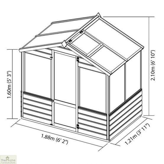 6 x 4 Evesham Wooden Greenhouse _4