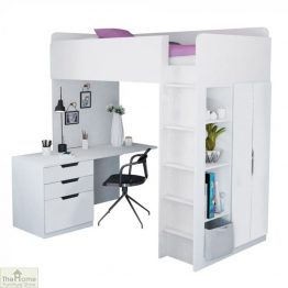 White High Loft Bed