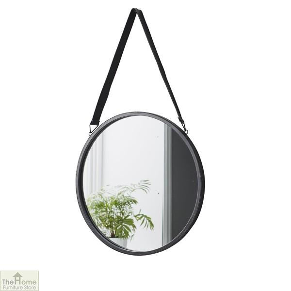 Idaho Leather Strap Round Mirror