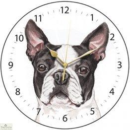 Boston Terrier Dog Print Wall Clock