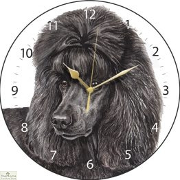 Black Poodle Dog Print Wall Clock