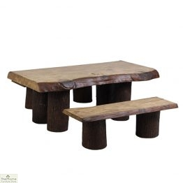 Natural Log Bench Dining Set